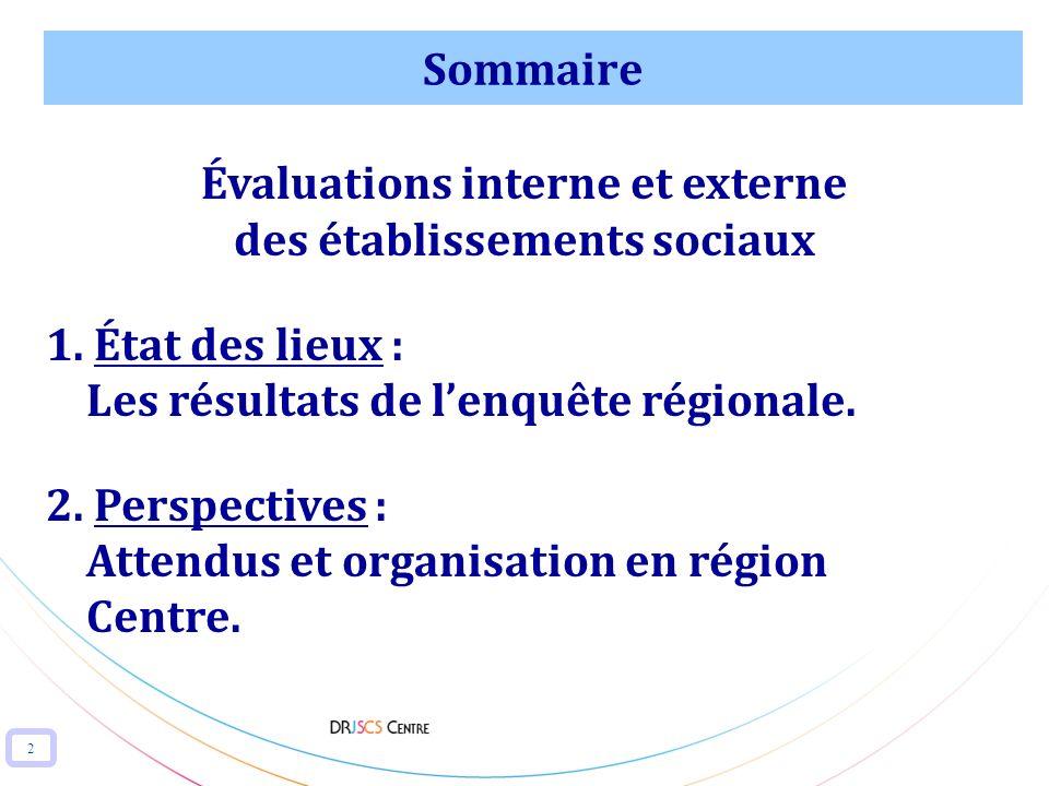 2 Sommaire Évaluations interne et externe des établissements sociaux 1. État des lieux : Les résultats de lenquête régionale. 2. Perspectives : Attend