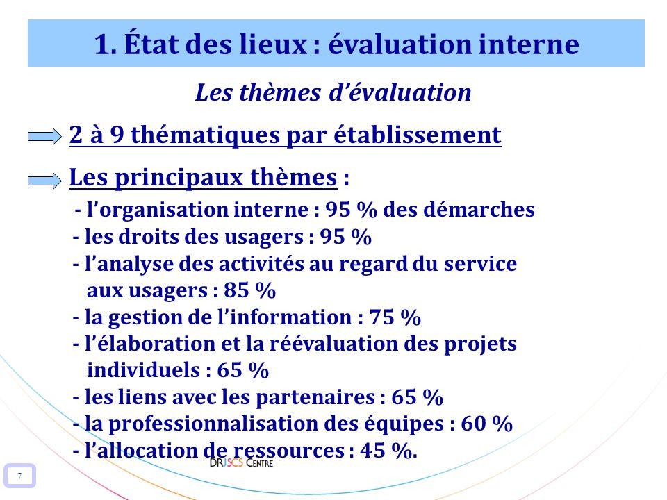 7 1. État des lieux : évaluation interne Les thèmes dévaluation 2 à 9 thématiques par établissement Les principaux thèmes : - lorganisation interne :