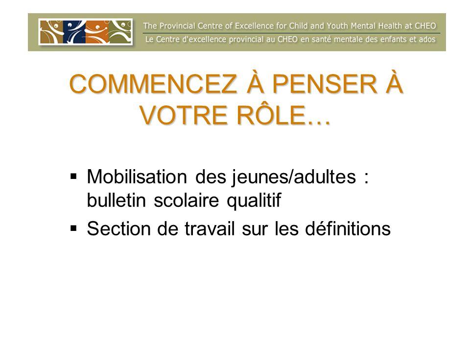 COMMENCEZ À PENSER À VOTRE RÔLE… Mobilisation des jeunes/adultes : bulletin scolaire qualitif Section de travail sur les définitions