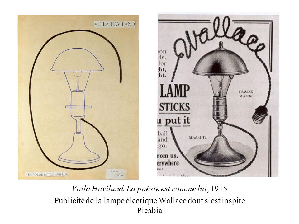 Voilà Haviland. La poésie est comme lui, 1915 Publicité de la lampe élecrique Wallace dont sest inspiré Picabia