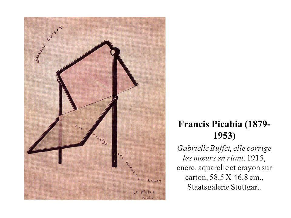 Francis Picabia (1879- 1953) Gabrielle Buffet, elle corrige les mœurs en riant, 1915, encre, aquarelle et crayon sur carton, 58,5 X 46,8 cm., Staatsga