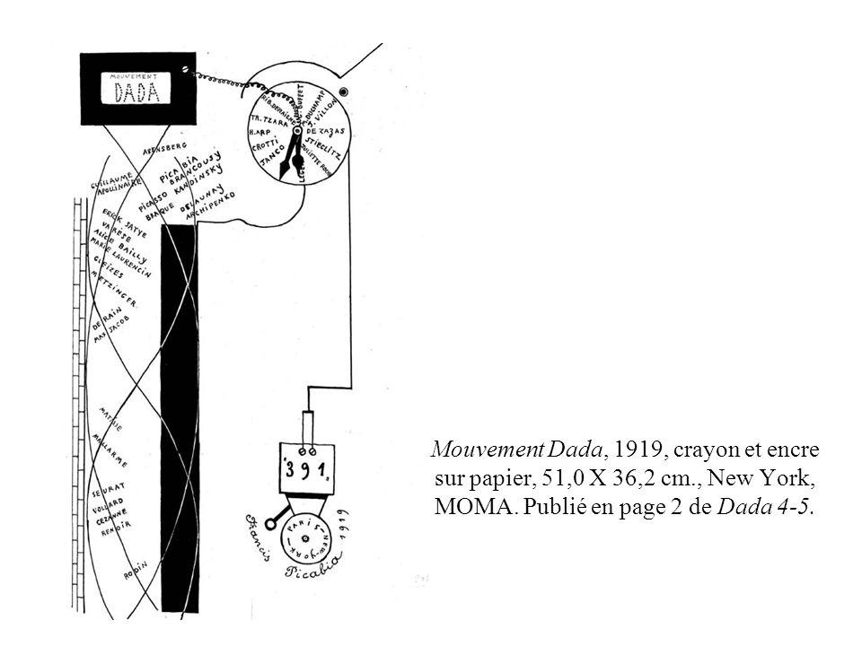 Mouvement Dada, 1919, crayon et encre sur papier, 51,0 X 36,2 cm., New York, MOMA. Publié en page 2 de Dada 4-5.