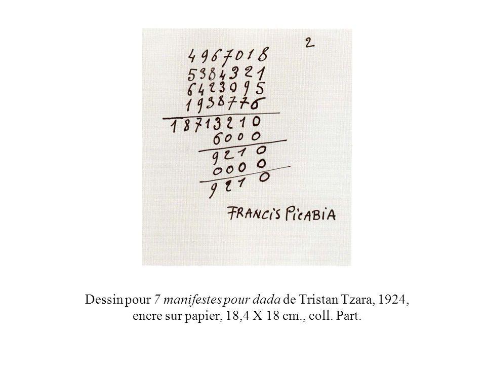 Dessin pour 7 manifestes pour dada de Tristan Tzara, 1924, encre sur papier, 18,4 X 18 cm., coll. Part.