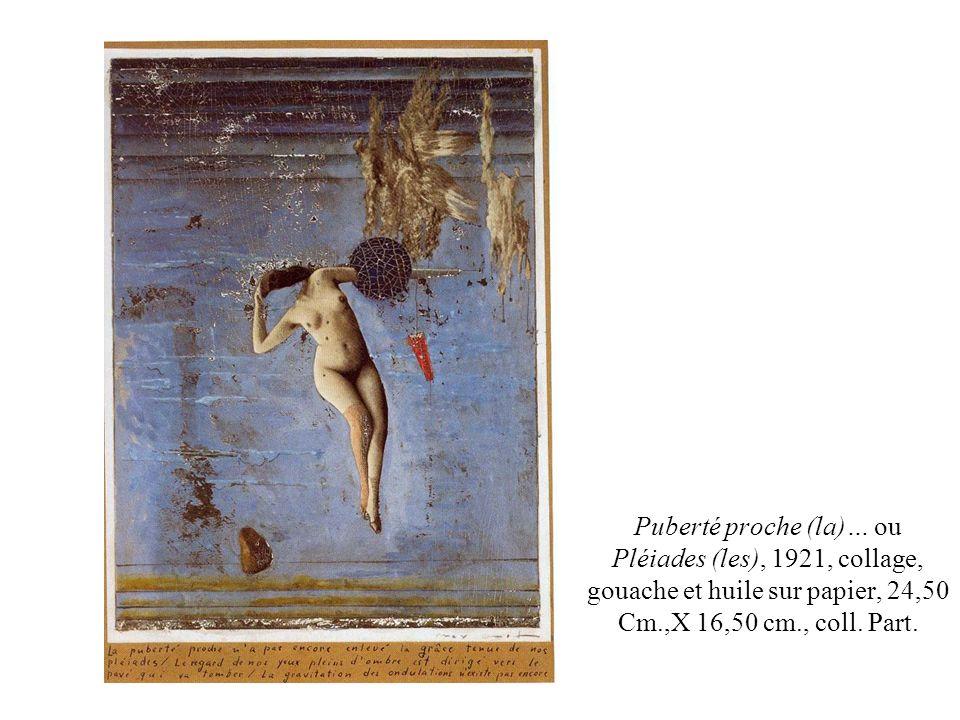 Puberté proche (la)… ou Pléiades (les), 1921, collage, gouache et huile sur papier, 24,50 Cm.,X 16,50 cm., coll. Part.