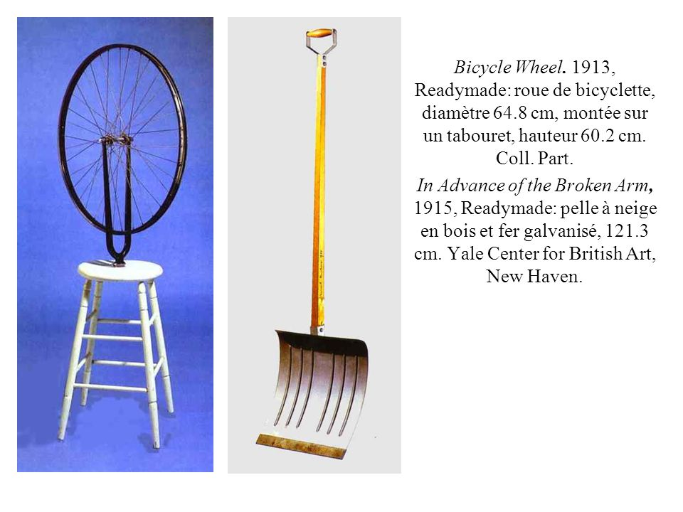 Bicycle Wheel. 1913, Readymade: roue de bicyclette, diamètre 64.8 cm, montée sur un tabouret, hauteur 60.2 cm. Coll. Part. In Advance of the Broken Ar