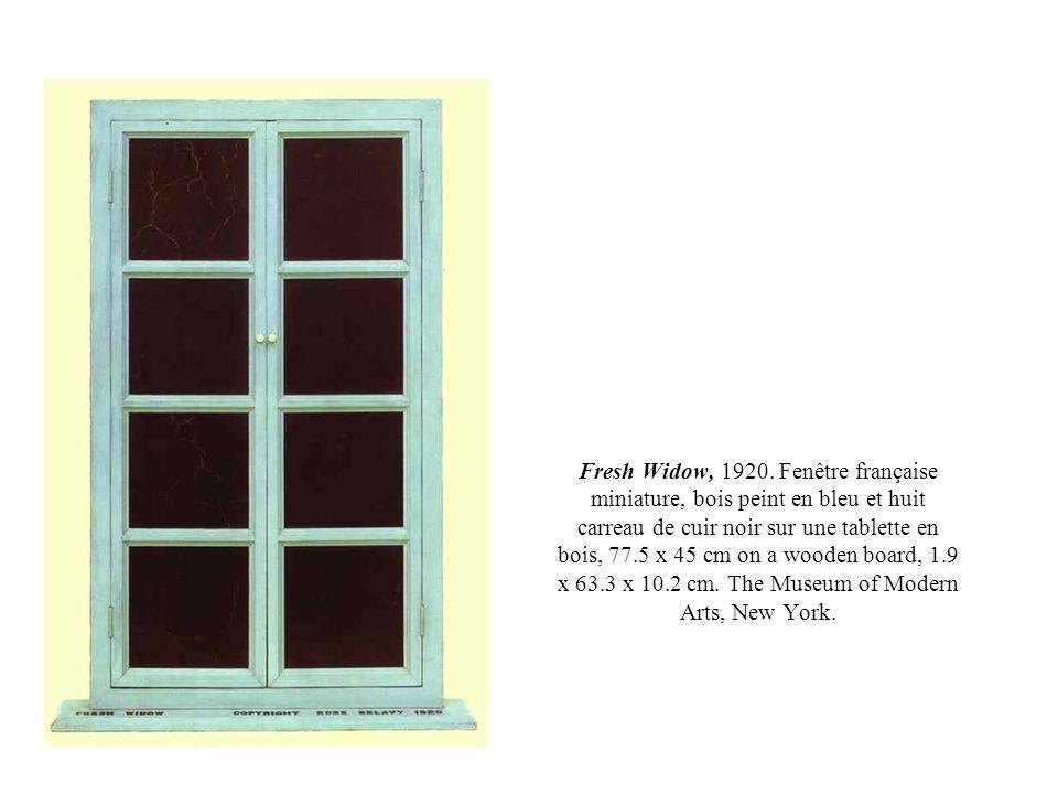 Fresh Widow, 1920. Fenêtre française miniature, bois peint en bleu et huit carreau de cuir noir sur une tablette en bois, 77.5 x 45 cm on a wooden boa
