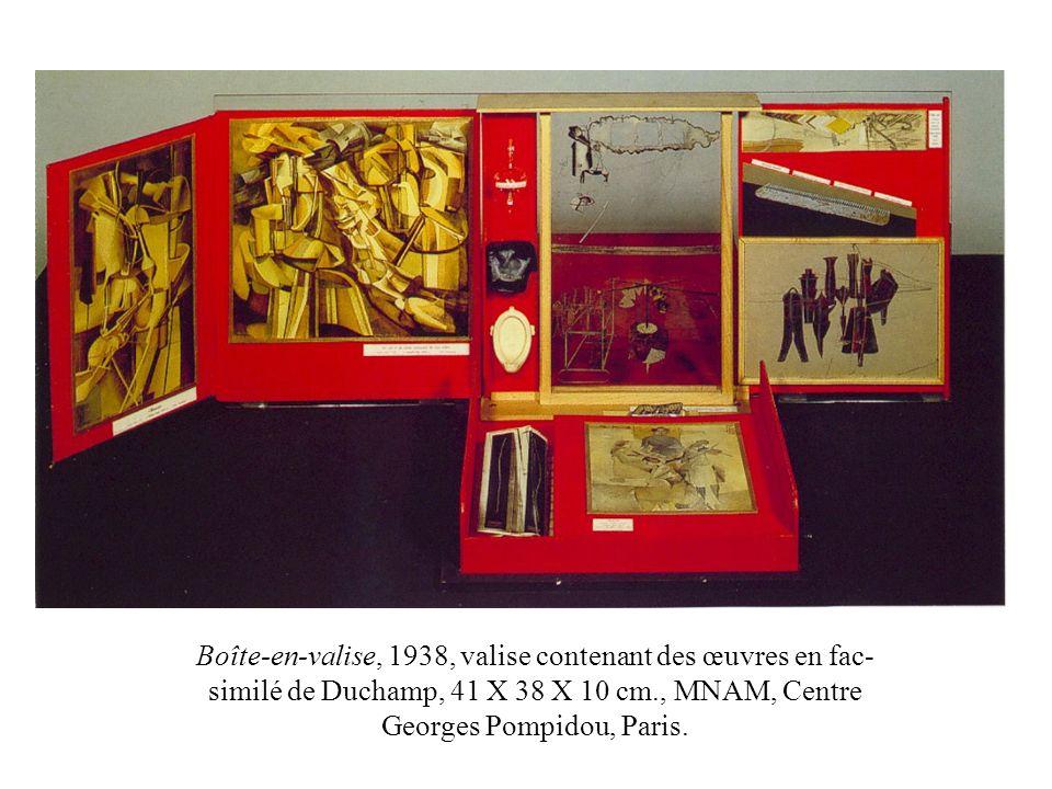 Boîte-en-valise, 1938, valise contenant des œuvres en fac- similé de Duchamp, 41 X 38 X 10 cm., MNAM, Centre Georges Pompidou, Paris.