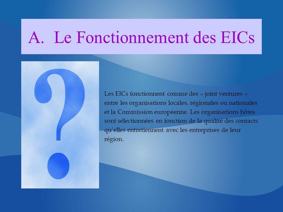 A.Le Fonctionnement des EICs Les EICs fonctionnent comme des « joint ventures » entre les organisations locales, régionales ou nationales et la Commission européenne.