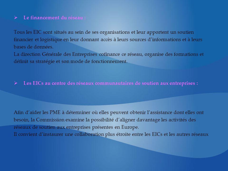 Le financement du réseau : Tous les EIC sont situés au sein de ses organisations et leur apportent un soutien financier et logistique en leur donnant