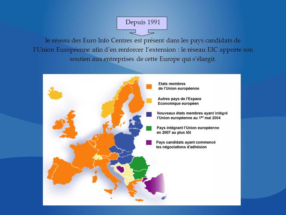 Depuis 1991 le réseau des Euro Info Centres est présent dans les pays candidats de lUnion Européenne afin den renforcer lextension : le réseau EIC apporte son soutien aux entreprises de cette Europe qui sélargit.