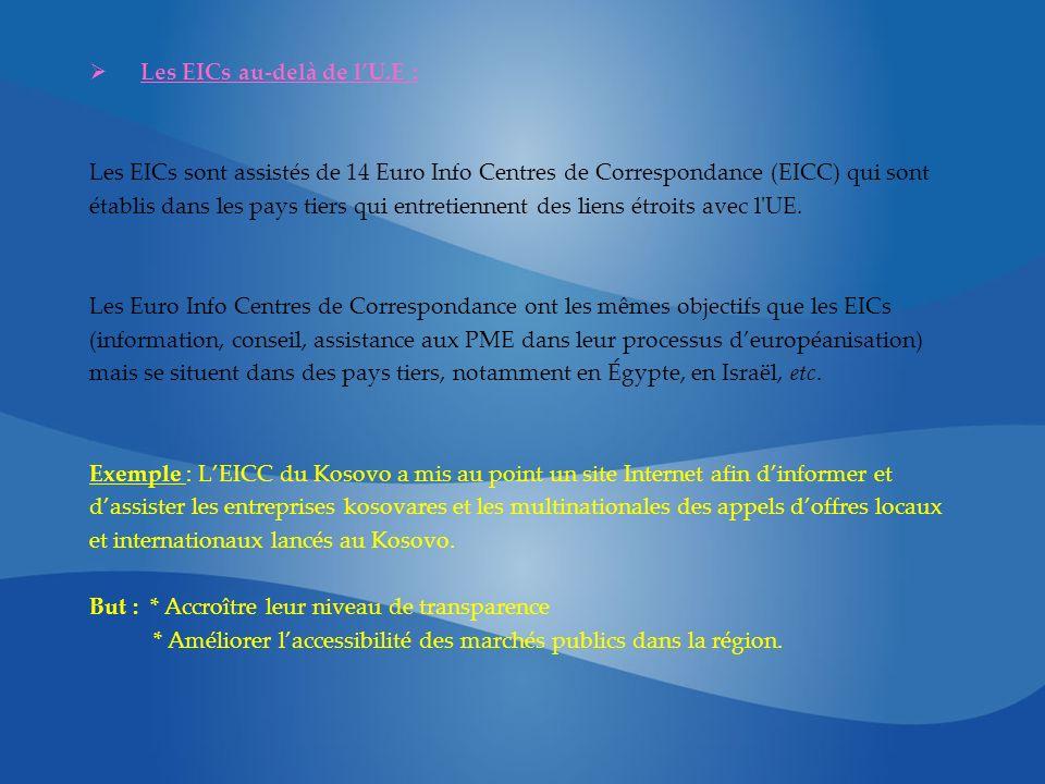Les EICs au-delà de lU.E : Les EICs sont assistés de 14 Euro Info Centres de Correspondance (EICC) qui sont établis dans les pays tiers qui entretiennent des liens étroits avec l UE.