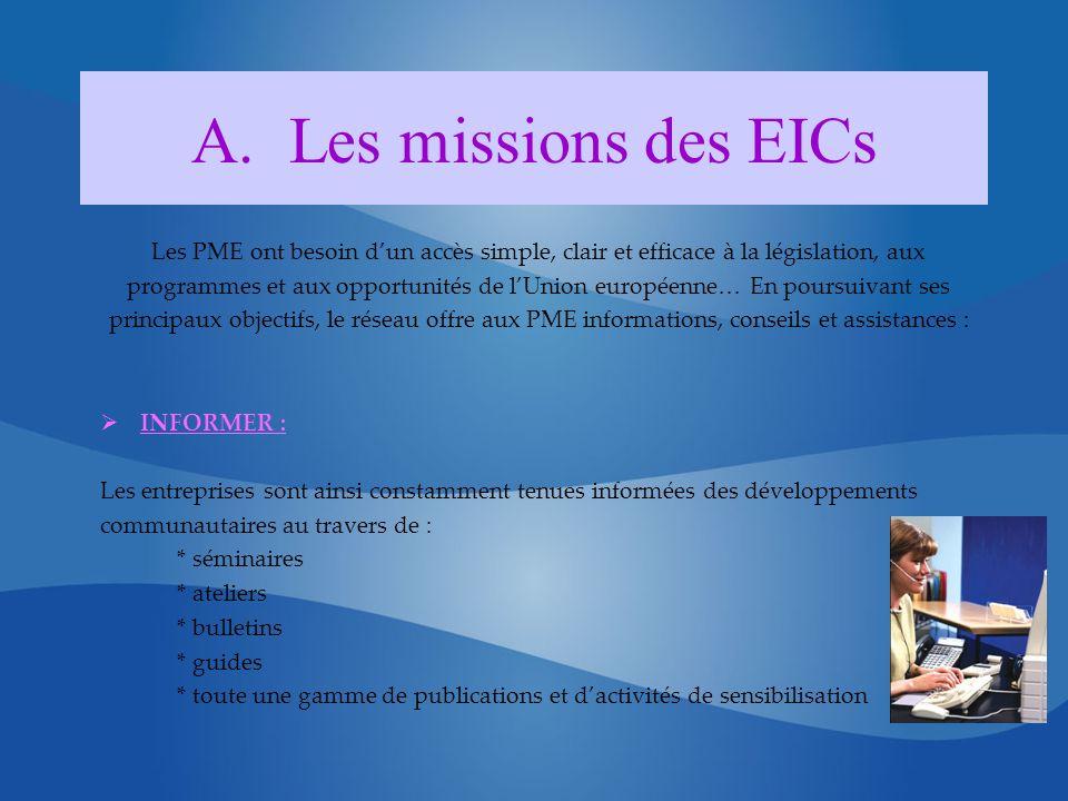 A.Les missions des EICs Les PME ont besoin dun accès simple, clair et efficace à la législation, aux programmes et aux opportunités de lUnion européen