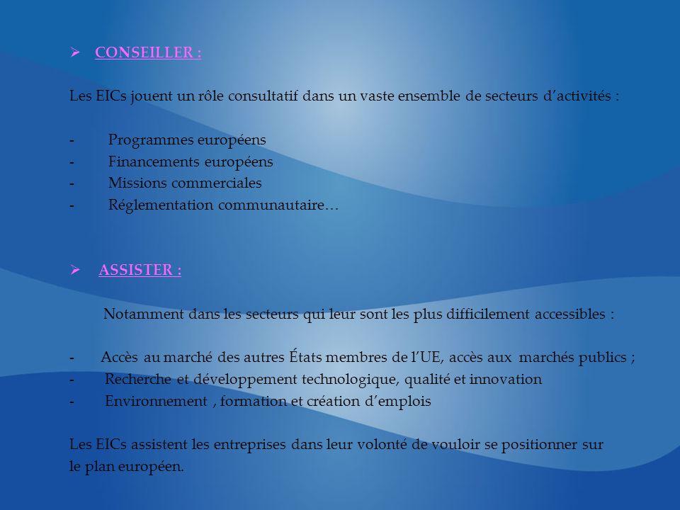 CONSEILLER : Les EICs jouent un rôle consultatif dans un vaste ensemble de secteurs dactivités : - Programmes européens - Financements européens - Mis