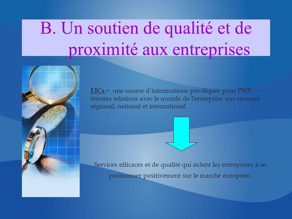 B. Un soutien de qualité et de proximité aux entreprises EICs = une source dinformations privilégiée pour PME + étroites relations avec le monde de le