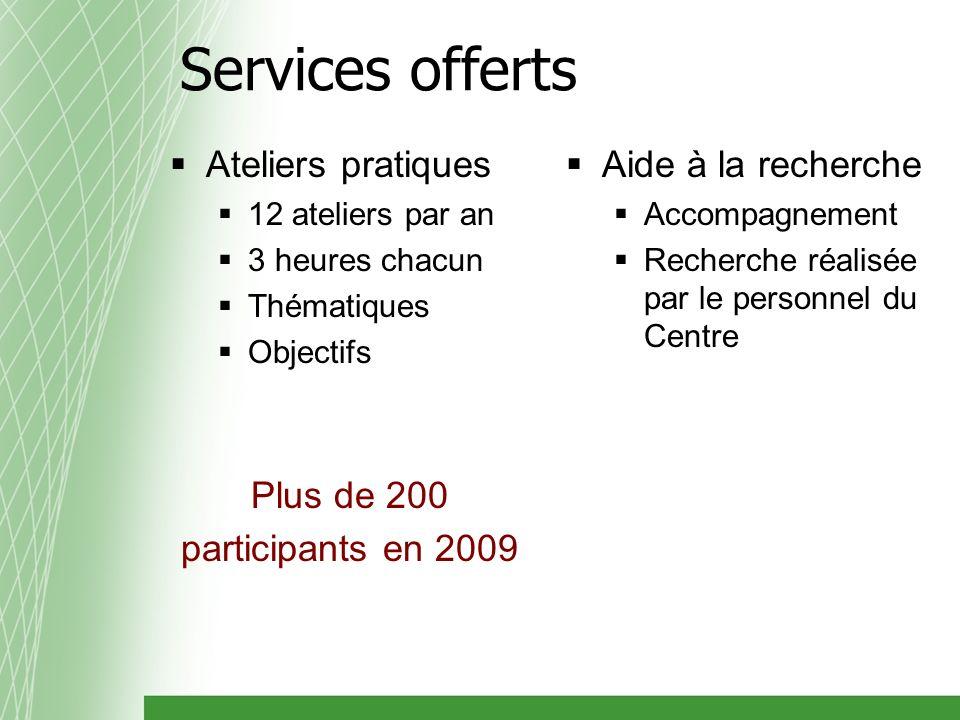 Ateliers pratiques 12 ateliers par an 3 heures chacun Thématiques Objectifs Plus de 200 participants en 2009 Aide à la recherche Accompagnement Recherche réalisée par le personnel du Centre Services offerts