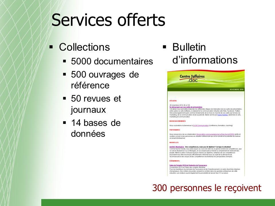 Collections 5000 documentaires 500 ouvrages de référence 50 revues et journaux 14 bases de données Bulletin dinformations 300 personnes le reçoivent Services offerts