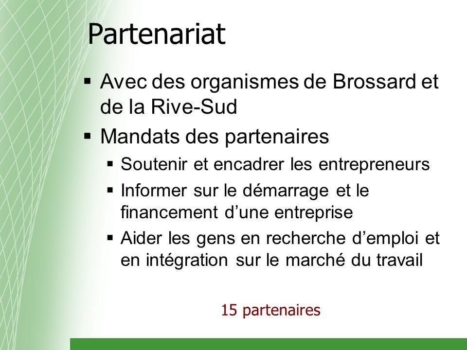 Partenariat Avec des organismes de Brossard et de la Rive-Sud Mandats des partenaires Soutenir et encadrer les entrepreneurs Informer sur le démarrage et le financement dune entreprise Aider les gens en recherche demploi et en intégration sur le marché du travail 15 partenaires