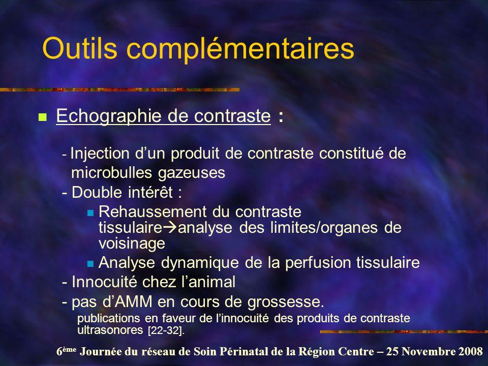 6 ème Journée du réseau de Soin Périnatal de la Région Centre – 25 Novembre 2008 Outils complémentaires Echographie de contraste : - Injection dun pro