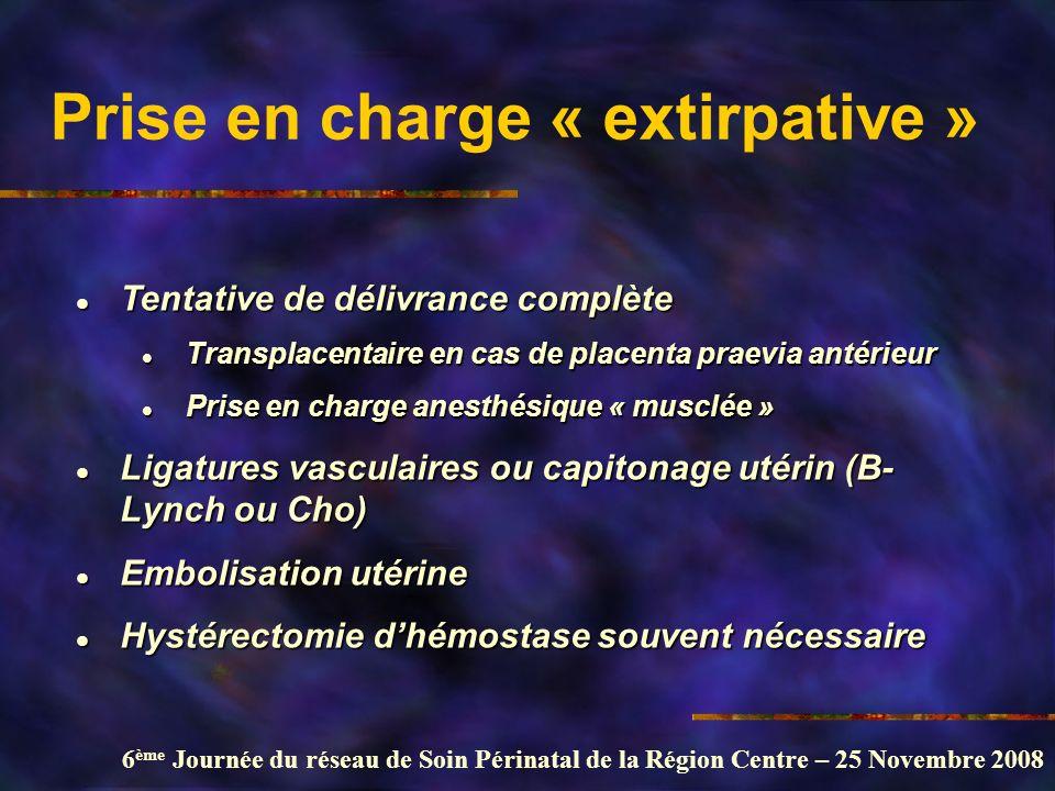 6 ème Journée du réseau de Soin Périnatal de la Région Centre – 25 Novembre 2008 Prise en charge « extirpative » l Tentative de délivrance complète l