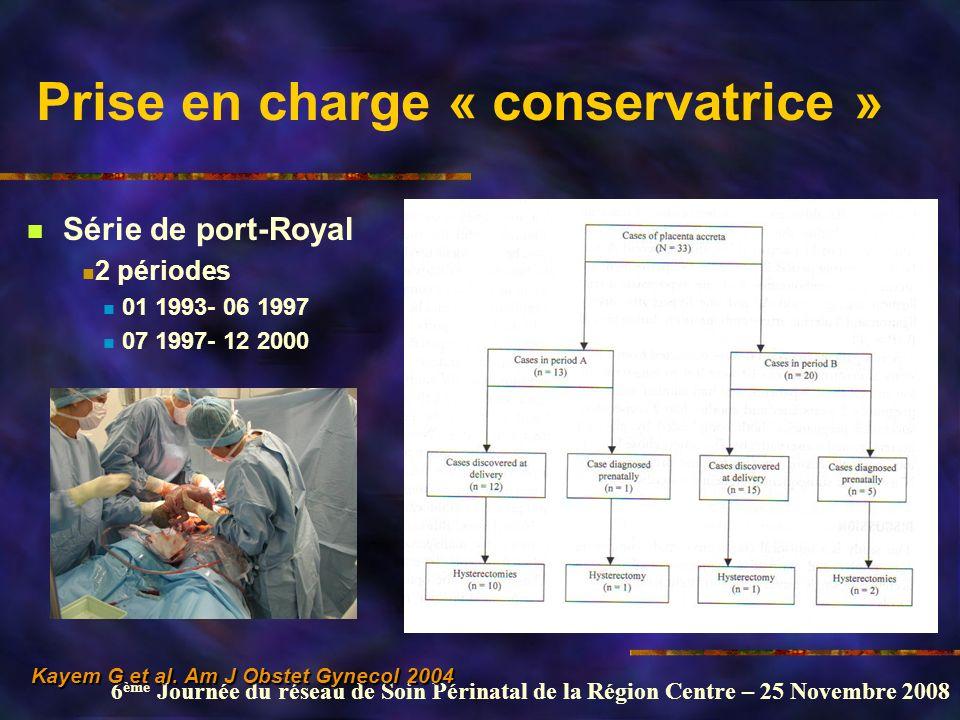 6 ème Journée du réseau de Soin Périnatal de la Région Centre – 25 Novembre 2008 Prise en charge « conservatrice » Série de port-Royal 2 périodes 01 1