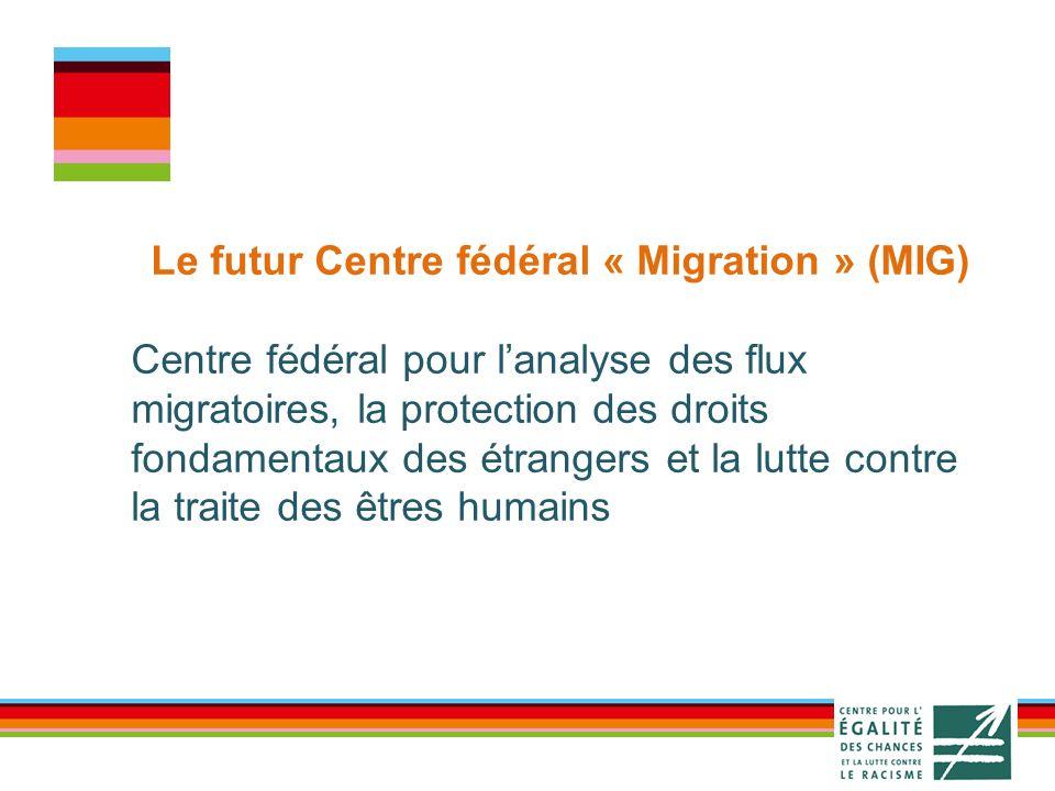 Le futur Centre fédéral « Migration » (MIG) Centre fédéral pour lanalyse des flux migratoires, la protection des droits fondamentaux des étrangers et la lutte contre la traite des êtres humains