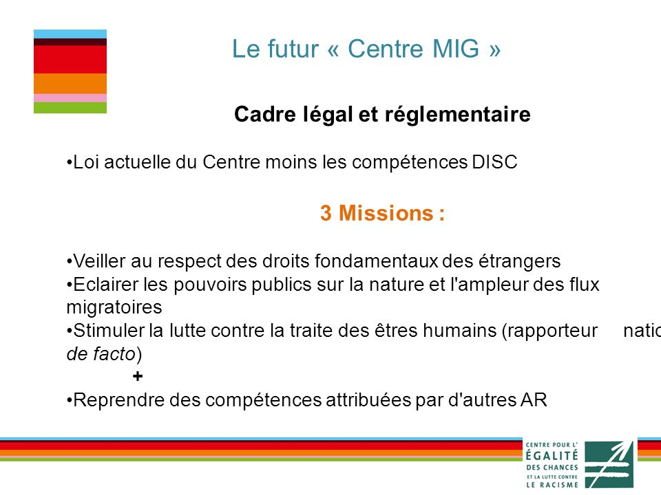 Le futur « Centre MIG » Cadre légal et réglementaire Loi actuelle du Centre moins les compétences DISC 3 Missions : Veiller au respect des droits fondamentaux des étrangers Eclairer les pouvoirs publics sur la nature et l ampleur des flux migratoires Stimuler la lutte contre la traite des êtres humains (rapporteur national de facto) + Reprendre des compétences attribuées par d autres AR