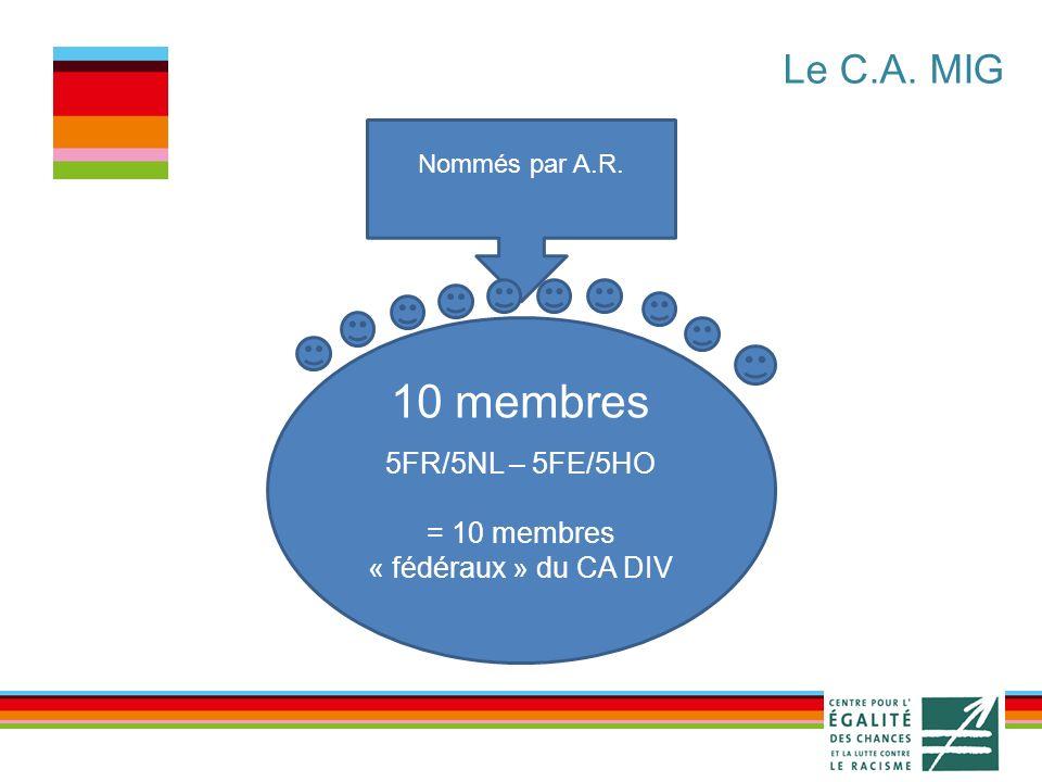 10 membres Nommés par A.R. 5FR/5NL – 5FE/5HO = 10 membres « fédéraux » du CA DIV Le C.A. MIG