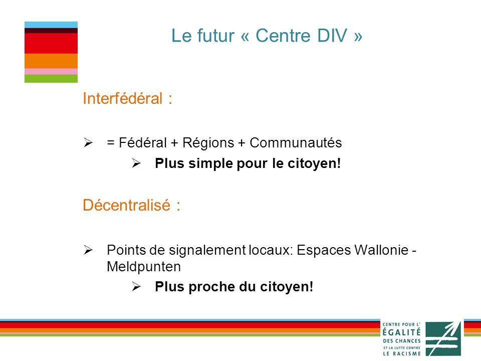 Le futur « Centre DIV » Interfédéral : = Fédéral + Régions + Communautés Plus simple pour le citoyen.