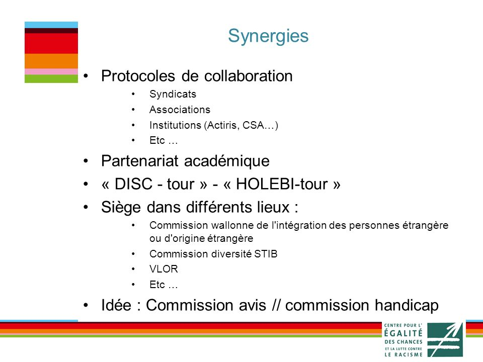 Synergies Protocoles de collaboration Syndicats Associations Institutions (Actiris, CSA…) Etc … Partenariat académique « DISC - tour » - « HOLEBI-tour