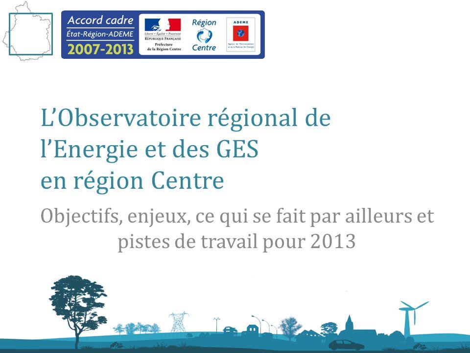 19 mars 2013 Observatoire Régional de lEnergie et des GES en région Centre LObservatoire régional de lEnergie et des GES en région Centre Objectifs, enjeux, ce qui se fait par ailleurs et pistes de travail pour 2013