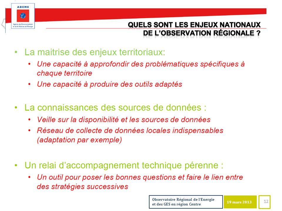 19 mars 2013 Observatoire Régional de lEnergie et des GES en région Centre 19 mars 2013 12