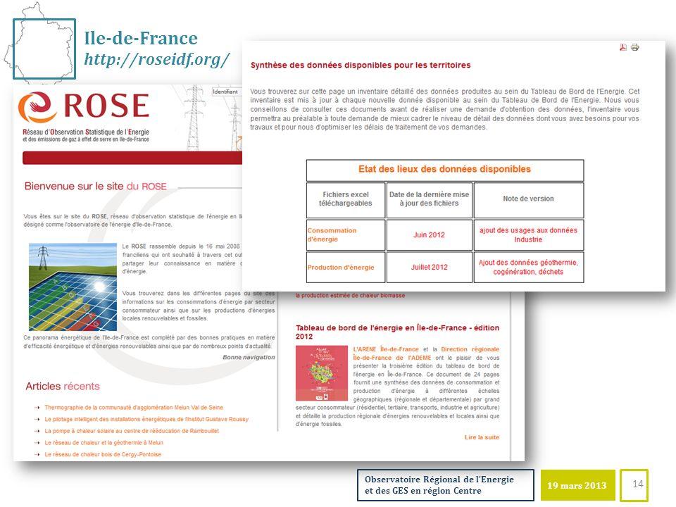 19 mars 2013 Observatoire Régional de lEnergie et des GES en région Centre Ile-de-France http://roseidf.org/ 14
