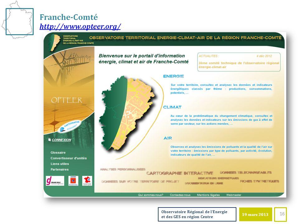 19 mars 2013 Observatoire Régional de lEnergie et des GES en région Centre Franche-Comté http://www.opteer.org/ 16
