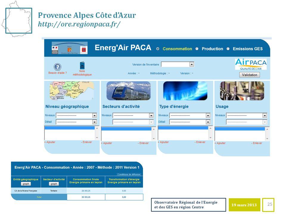 19 mars 2013 Observatoire Régional de lEnergie et des GES en région Centre 25 Provence Alpes Côte dAzur http://ore.regionpaca.fr/