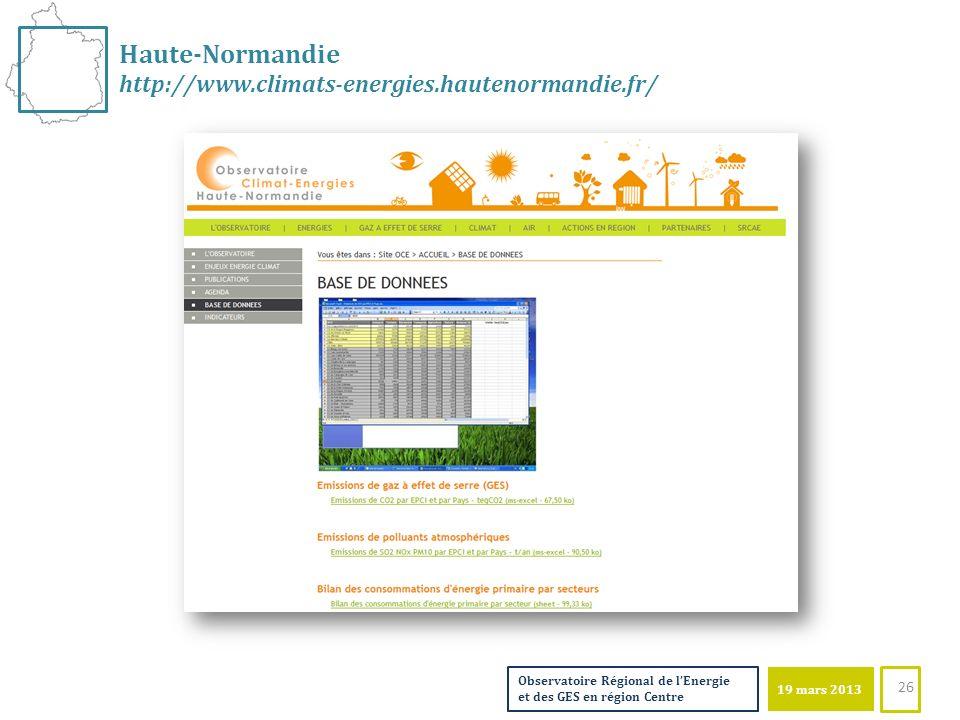 19 mars 2013 Observatoire Régional de lEnergie et des GES en région Centre Haute-Normandie http://www.climats-energies.hautenormandie.fr/ 26