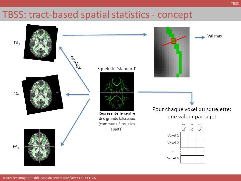 Traiter les images de diffusion du centre IRMf avec FSL et TBSS TBSS: tract-based spatial statistics - concept Val max recalage FA 1 FA 2 FA 3 Squelet