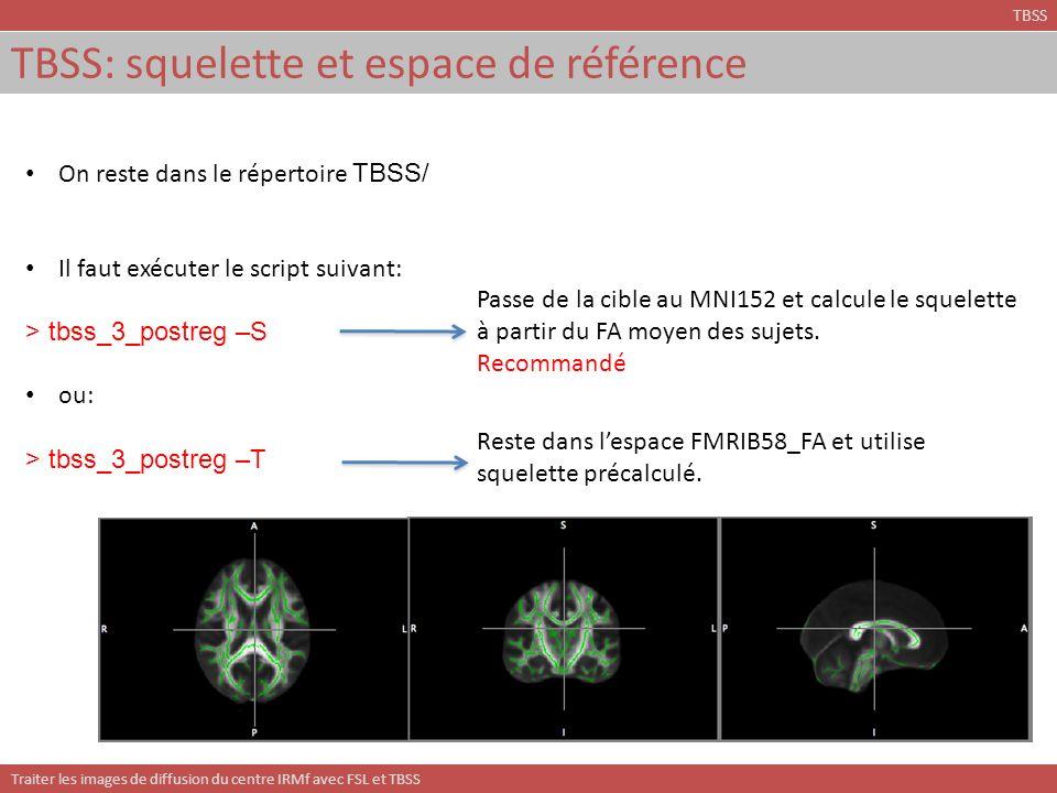 Traiter les images de diffusion du centre IRMf avec FSL et TBSS TBSS: squelette et espace de référence TBSS On reste dans le répertoire TBSS/ Il faut