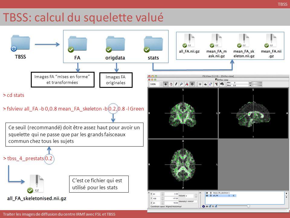 Traiter les images de diffusion du centre IRMf avec FSL et TBSS TBSS: calcul du squelette valué TBSS Images FA mises en forme et transformées Images F