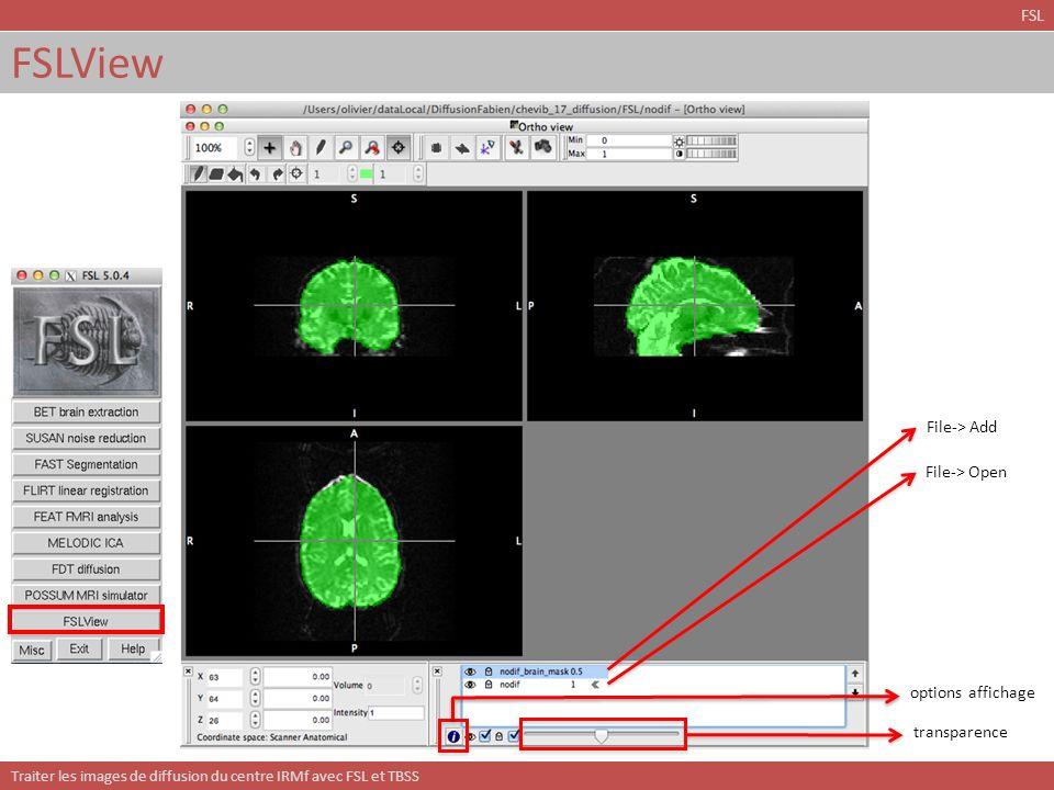Traiter les images de diffusion du centre IRMf avec FSL et TBSS TBSS: squelette et espace de référence TBSS On reste dans le répertoire TBSS/ Il faut exécuter le script suivant: > tbss_3_postreg –S ou: > tbss_3_postreg –T Passe de la cible au MNI152 et calcule le squelette à partir du FA moyen des sujets.