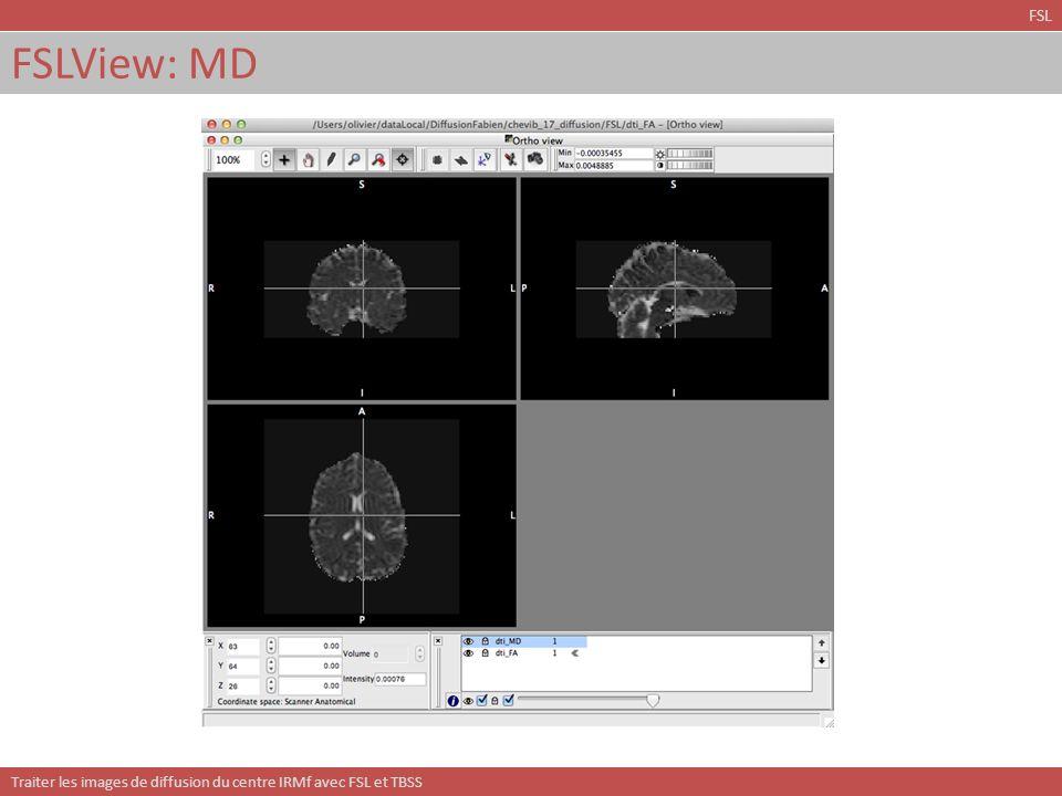 Traiter les images de diffusion du centre IRMf avec FSL et TBSS Modélisation de croisements de fibres: BEDPOSTX Estimation dun modèle de croisement de fibres en chaque voxel.