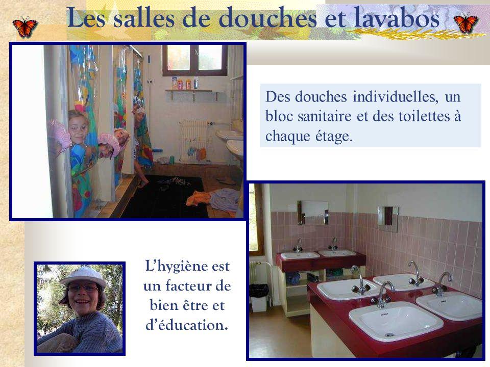 Les salles de douches et lavabos Des douches individuelles, un bloc sanitaire et des toilettes à chaque étage.
