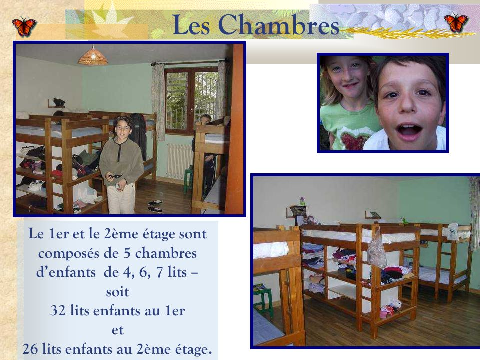 Les Chambres Le 1er et le 2ème étage sont composés de 5 chambres denfants de 4, 6, 7 lits – soit 32 lits enfants au 1er et 26 lits enfants au 2ème étage.