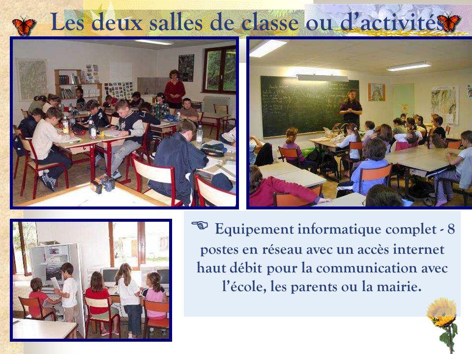 Les deux salles de classe ou dactivités Equipement informatique complet - 8 postes en réseau avec un accès internet haut débit pour la communication avec lécole, les parents ou la mairie.