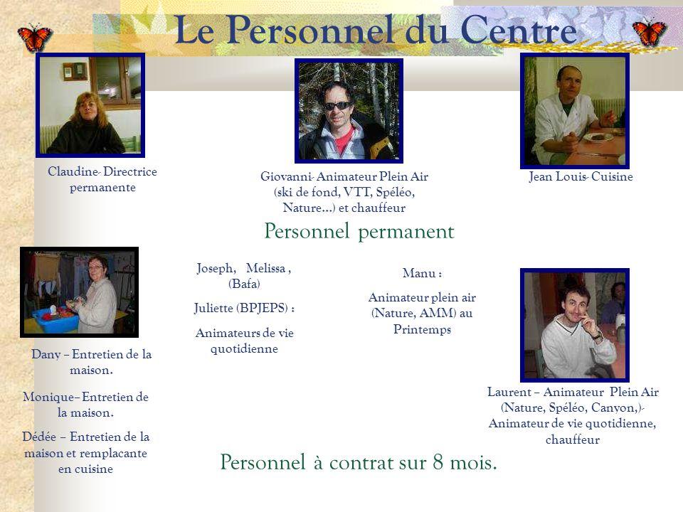 Le Personnel du Centre Claudine- Directrice permanente Jean Louis- Cuisine Laurent – Animateur Plein Air (Nature, Spéléo, Canyon,)- Animateur de vie q