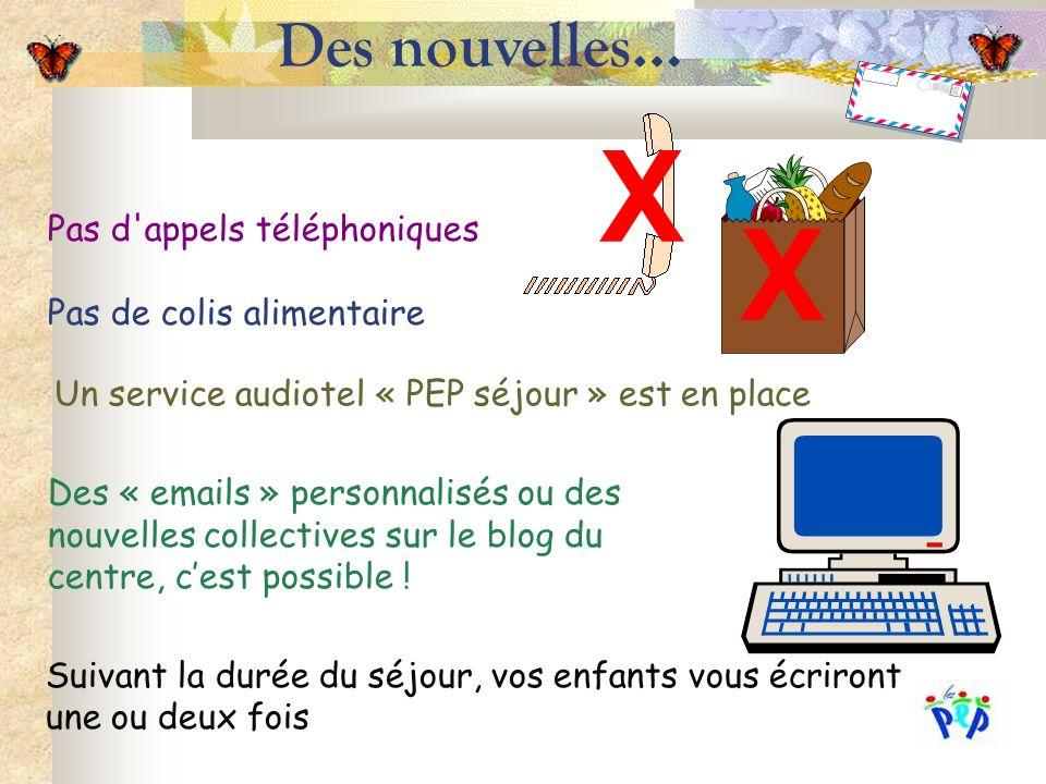 Des nouvelles… X Pas d appels téléphoniques Pas de colis alimentaire X Un service audiotel « PEP séjour » est en place Des « emails » personnalisés ou des nouvelles collectives sur le blog du centre, cest possible .