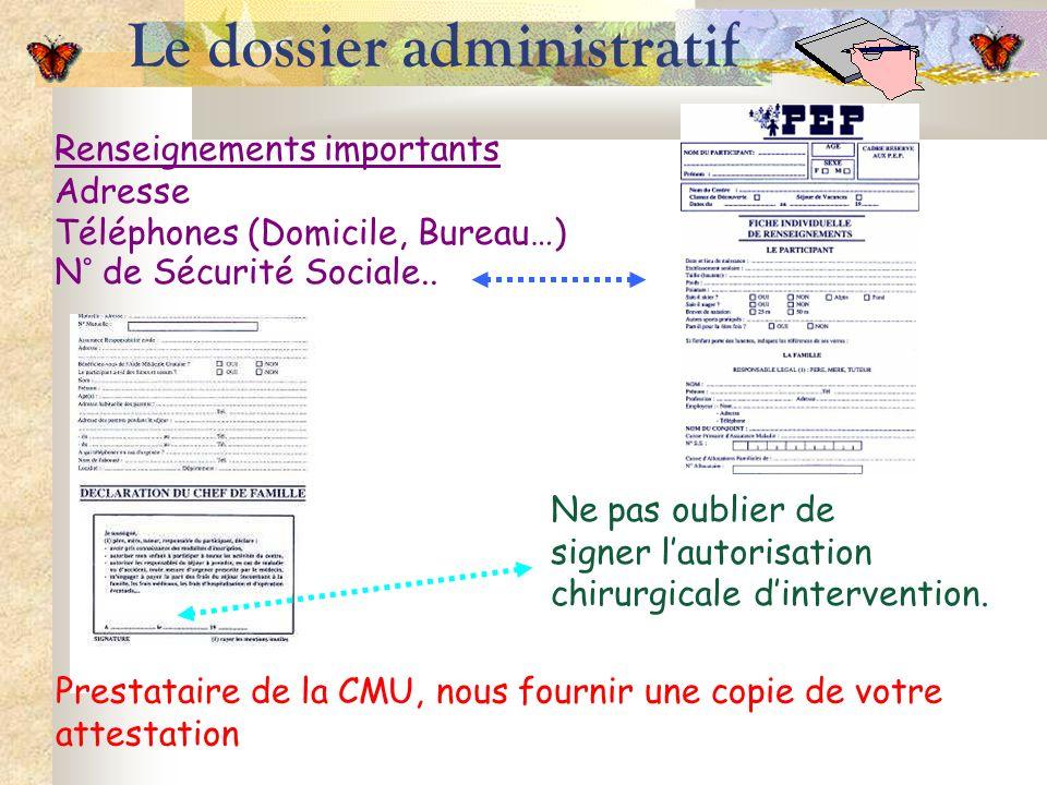 Le dossier administratif Renseignements importants Adresse Téléphones (Domicile, Bureau…) N° de Sécurité Sociale.. Ne pas oublier de signer lautorisat
