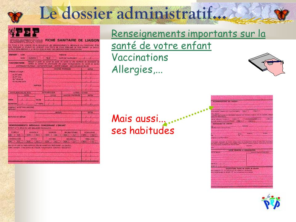 Le dossier administratif… Renseignements importants sur la santé de votre enfant Vaccinations Allergies,... Mais aussi... ses habitudes