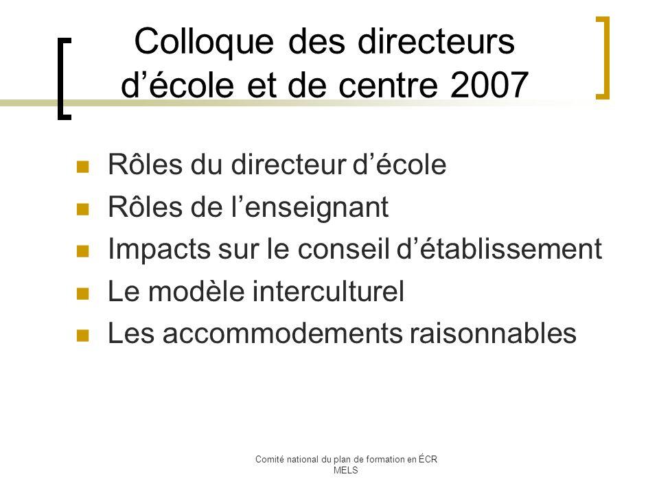Comité national du plan de formation en ÉCR MELS Colloque des directeurs décole et de centre 2007 Rôles du directeur décole Rôles de lenseignant Impacts sur le conseil détablissement Le modèle interculturel Les accommodements raisonnables