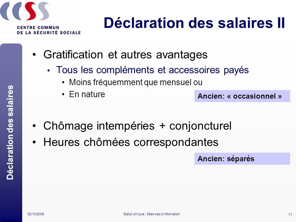 11 02/10/2008Statut Unique - Séances d'information Déclaration des salaires II Gratification et autres avantages Tous les compléments et accessoires p
