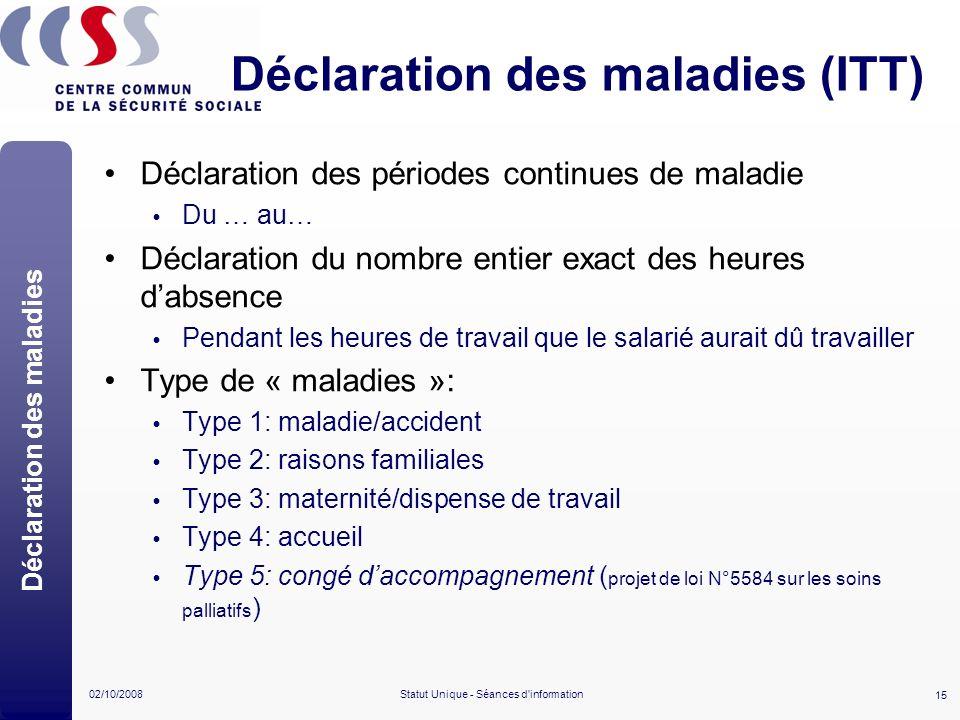 15 02/10/2008Statut Unique - Séances d'information Déclaration des maladies (ITT) Déclaration des maladies Déclaration des périodes continues de malad